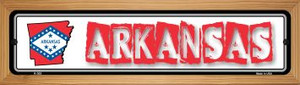 Arkansas State Outline Wholesale Novelty Wood Mounted Metal Small Street Sign WB-K-303
