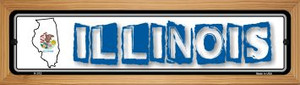 Illinois State Outline Wholesale Novelty Wood Mounted Metal Small Street Sign WB-K-312