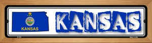 Kansas State Outline Wholesale Novelty Wood Mounted Metal Small Street Sign WB-K-315
