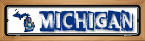 Michigan State Outline Wholesale Novelty Wood Mounted Metal Small Street Sign WB-K-321