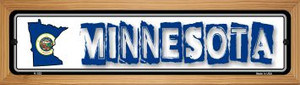 Minnesota State Outline Wholesale Novelty Wood Mounted Metal Small Street Sign WB-K-322