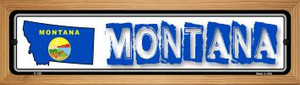 Montana State Outline Wholesale Novelty Wood Mounted Metal Small Street Sign WB-K-325