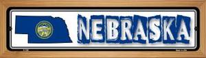 Nebraska State Outline Wholesale Novelty Wood Mounted Metal Small Street Sign WB-K-326