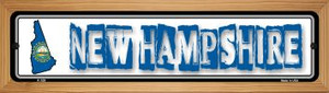 New Hampshire State Outline Wholesale Novelty Wood Mounted Metal Small Street Sign WB-K-328