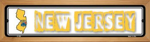 New Jersey State Outline Wholesale Novelty Wood Mounted Metal Small Street Sign WB-K-329