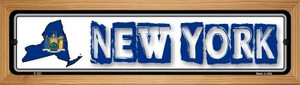 New York State Outline Wholesale Novelty Wood Mounted Metal Small Street Sign WB-K-331