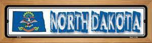 North Dakota State Outline Wholesale Novelty Wood Mounted Metal Small Street Sign WB-K-333