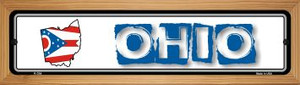 Ohio State Outline Wholesale Novelty Wood Mounted Metal Small Street Sign WB-K-334