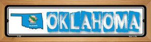 Oklahoma State Outline Wholesale Novelty Wood Mounted Metal Small Street Sign WB-K-335