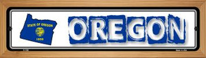 Oregon State Outline Wholesale Novelty Wood Mounted Metal Small Street Sign WB-K-336