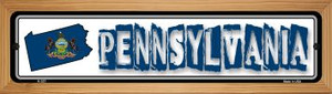 Pennsylvania State Outline Wholesale Novelty Wood Mounted Metal Small Street Sign WB-K-337