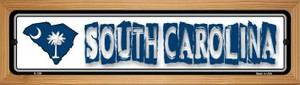 South Carolina State Outline Wholesale Novelty Wood Mounted Metal Small Street Sign WB-K-339