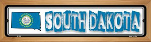 South Dakota State Outline Wholesale Novelty Wood Mounted Metal Small Street Sign WB-K-340
