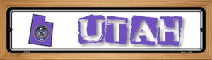 Utah State Outline Wholesale Novelty Wood Mounted Metal Small Street Sign WB-K-343