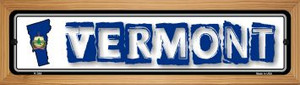 Vermont State Outline Wholesale Novelty Wood Mounted Metal Small Street Sign WB-K-344