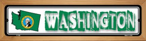 Washington State Outline Wholesale Novelty Wood Mounted Metal Small Street Sign WB-K-346