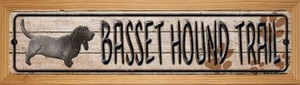 Basset Hound Trail Wholesale Novelty Wood Mounted Metal Small Street Sign WB-K-453