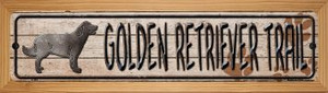 Golden Retriever Wholesale Novelty Wood Mounted Metal Small Street Sign WB-K-464