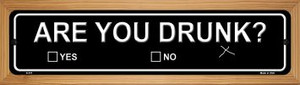 Are You Drunk Wholesale Novelty Wood Mounted Metal Small Street Sign WB-K-511