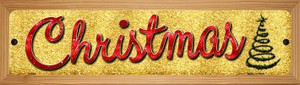Christmas With Tree Wholesale Novelty Wood Mounted Metal Small Street Sign WB-K-654