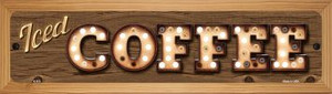 Iced Coffee Wholesale Novelty Wood Mounted Metal Small Street Sign WB-K-833