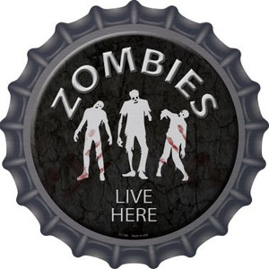 Zombies Live Here Wholesale Novelty Metal Bottle Cap BC-168