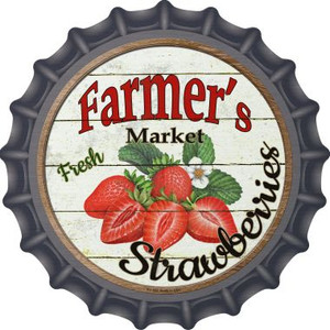 Farmers Market Strawberries Wholesale Novelty Metal Bottle Cap BC-626