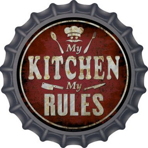 My Kitchen My Rules Wholesale Novelty Metal Bottle Cap BC-840
