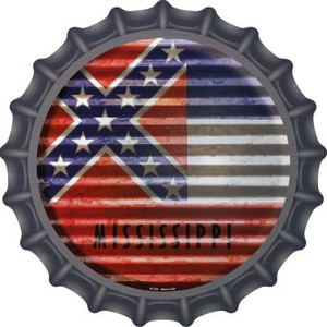Mississippi Flag Corrugated Effect Wholesale Novelty Metal Bottle Cap BC-934