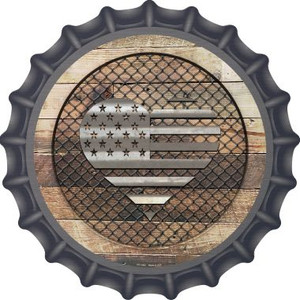 Corrugated American Flag Heart on Wood Wholesale Novelty Metal Bottle Cap BC-1062