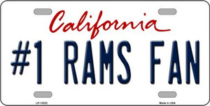 Number 1 Rams Fan Wholesale Novelty Metal License Plate Tag LP-13322