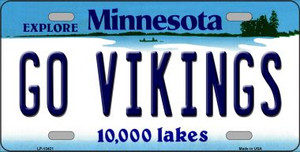 Go Vikings Wholesale Novelty Metal License Plate Tag LP-13421