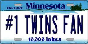 Number 1 Twins Fan Wholesale Novelty Metal License Plate Tag LP-13424