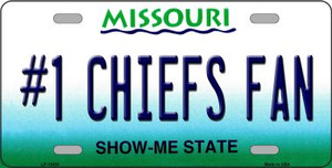 Number 1 Chiefs Fan Wholesale Novelty Metal License Plate Tag LP-13430