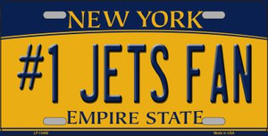 Numbers 1 Jets Fan Wholesale Novelty Metal License Plate Tag LP-13450