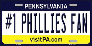 Number 1 Phillies Fan Wholesale Novelty Metal License Plate Tag LP-13494