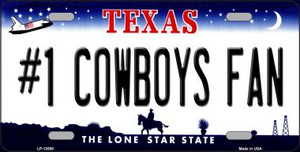 Number 1 Cowboys Fan Wholesale Novelty Metal License Plate Tag LP-13508