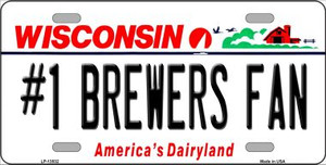Number 1 Brewers Fan Wholesale Novelty Metal License Plate Tag LP-13532