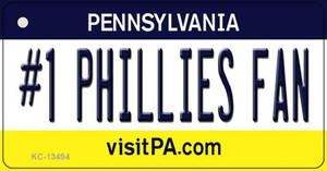 Number 1 Phillies Fan Wholesale Novelty Metal Key Chain KC-13494