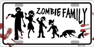 Zombie Family White Novelty Wholesale Metal License Plate LP-6878