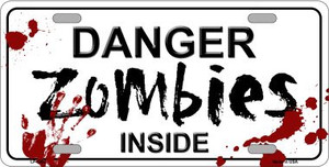 Danger Zombies Inside Novelty Wholesale Metal License Plate LP-6880