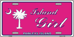 Island Girl Pink Wholesale Metal Novelty License Plate LP-5334