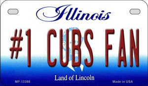 Number 1 Cubs Fan Wholesale Novelty Metal Motorcycle Plate MP-13388