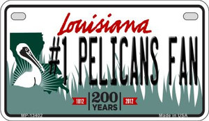 Number 1 Pelicans Fan Wholesale Novelty Metal Motorcycle Plate MP-13402