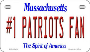 Number 1 Patriots Fan Wholesale Novelty Metal Motorcycle Plate MP-13408