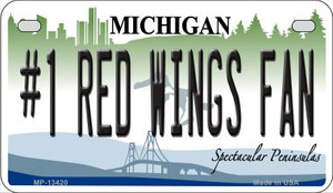 Number 1 Red Wings Fan Wholesale Novelty Metal Motorcycle Plate MP-13420