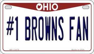Number 1 Browns Fan Wholesale Novelty Metal Motorcycle Plate MP-13476