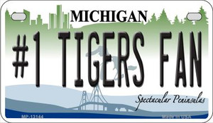 Number 1 Tigers Fan Wholesale Novelty Metal Motorcycle Plate MP-13144