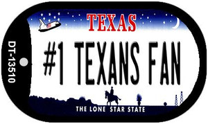Number 1 Texans Fan Wholesale Novelty Metal Dog Tag Necklace DT-13510