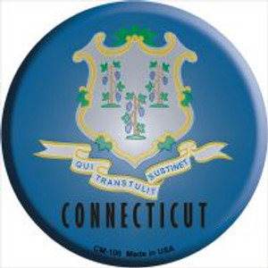 Connecticut State Flag Wholesale Novelty Metal Mini Circle Magnet CM-106